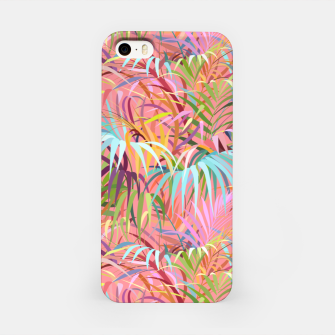 Tropical mood on a strawberry pink sunset iPhone Case Bild der Miniatur