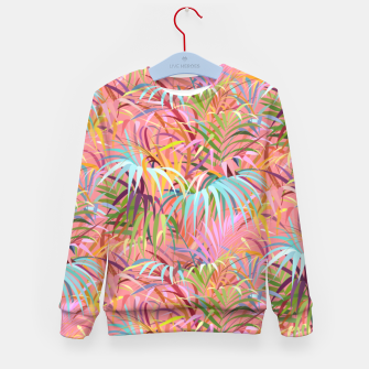 Tropical mood on a strawberry pink sunset Kid's sweater Bild der Miniatur