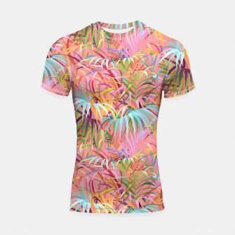 Miniatur Tropical mood on a strawberry pink sunset Shortsleeve rashguard, Live Heroes