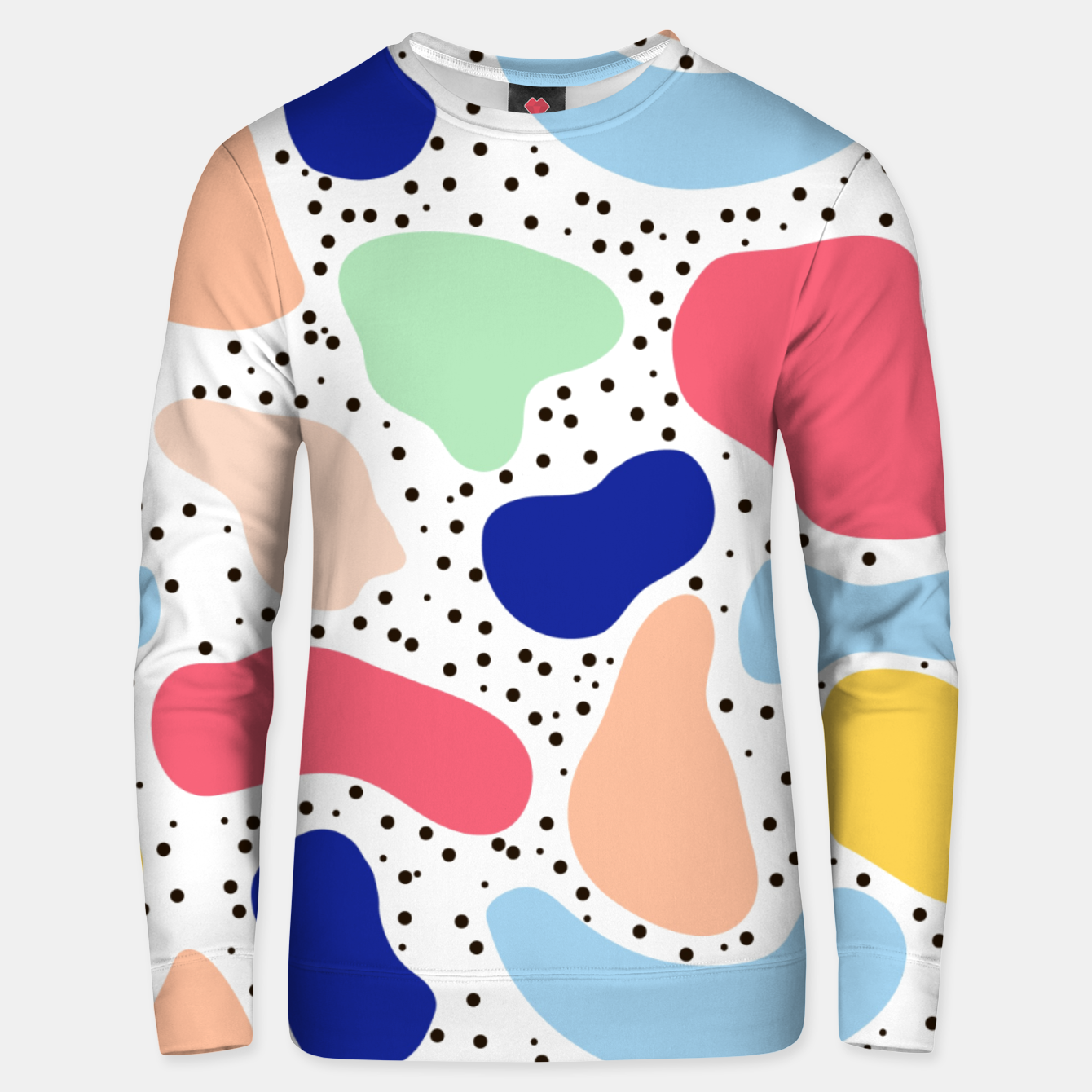 Image of Splash abstract cartoon background children design element, overlay colorful spotty pattern geometric shape, dot trendy Memphis style Unisex sweater - Live Heroes