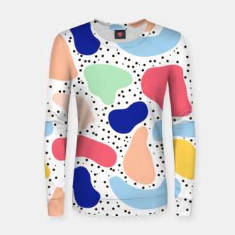 Thumbnail image of Splash abstract cartoon background children design element, overlay colorful spotty pattern geometric shape, dot trendy Memphis style Women sweater, Live Heroes