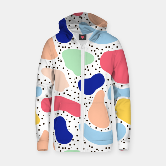 Thumbnail image of Splash abstract cartoon background children design element, overlay colorful spotty pattern geometric shape, dot trendy Memphis style Zip up hoodie, Live Heroes