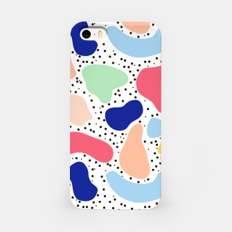 Miniatur Splash abstract cartoon background children design element, overlay colorful spotty pattern geometric shape, dot trendy Memphis style iPhone Case, Live Heroes