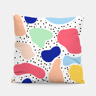 Thumbnail image of Splash abstract cartoon background children design element, overlay colorful spotty pattern geometric shape, dot trendy Memphis style Pillow, Live Heroes