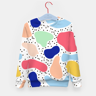 Thumbnail image of Splash abstract cartoon background children design element, overlay colorful spotty pattern geometric shape, dot trendy Memphis style Kid's sweater, Live Heroes