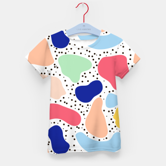Thumbnail image of Splash abstract cartoon background children design element, overlay colorful spotty pattern geometric shape, dot trendy Memphis style Kid's t-shirt, Live Heroes