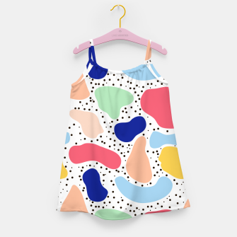 Thumbnail image of Splash abstract cartoon background children design element, overlay colorful spotty pattern geometric shape, dot trendy Memphis style Girl's dress, Live Heroes