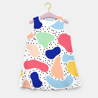 Miniaturka Splash abstract cartoon background children design element, overlay colorful spotty pattern geometric shape, dot trendy Memphis style Girl's summer dress, Live Heroes