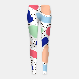 Thumbnail image of Splash abstract cartoon background children design element, overlay colorful spotty pattern geometric shape, dot trendy Memphis style Girl's leggings, Live Heroes