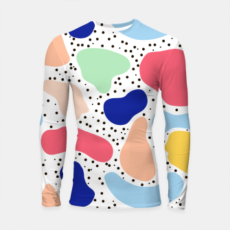 Thumbnail image of Splash abstract cartoon background children design element, overlay colorful spotty pattern geometric shape, dot trendy Memphis style Longsleeve rashguard , Live Heroes