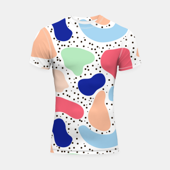 Thumbnail image of Splash abstract cartoon background children design element, overlay colorful spotty pattern geometric shape, dot trendy Memphis style Shortsleeve rashguard, Live Heroes