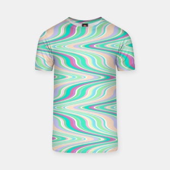Miniaturka Seafoam green blue infinite ikat pattern, magical old style wavy chevron T-shirt, Live Heroes