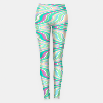 Miniaturka Seafoam green blue infinite ikat pattern, magical old style wavy chevron Leggings, Live Heroes
