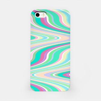 Miniaturka Seafoam green blue infinite ikat pattern, magical old style wavy chevron iPhone Case, Live Heroes