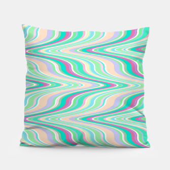 Miniaturka Seafoam green blue infinite ikat pattern, magical old style wavy chevron Pillow, Live Heroes