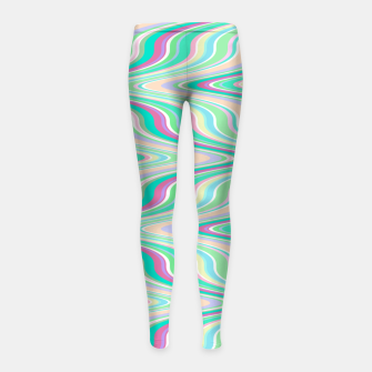 Miniaturka Seafoam green blue infinite ikat pattern, magical old style wavy chevron Girl's leggings, Live Heroes