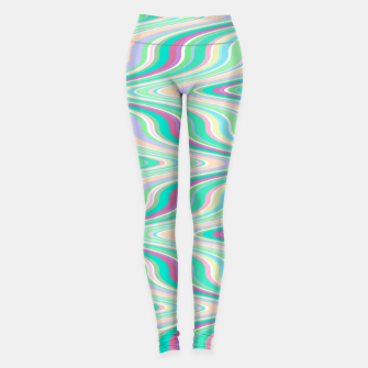 Miniatur Seafoam green blue infinite ikat pattern, magical old style wavy chevron Leggings, Live Heroes