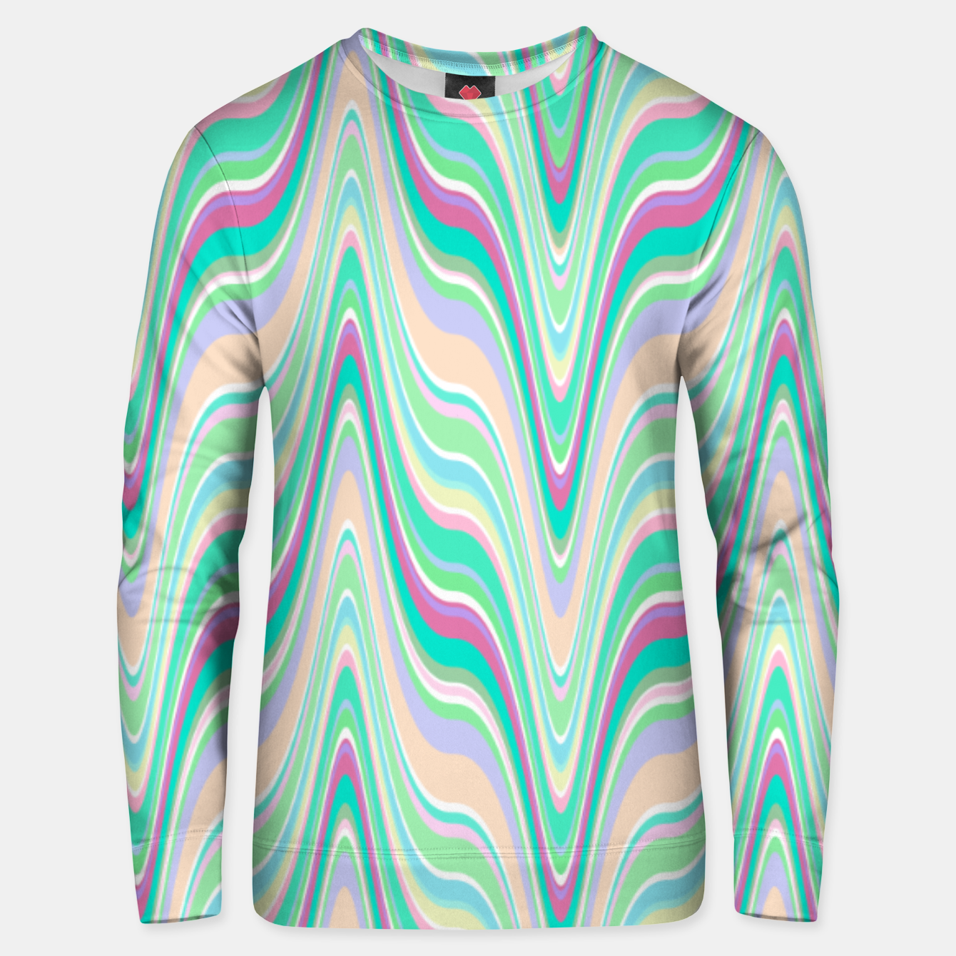 Image of Seafoam green blue infinite ikat pattern, magical old style wavy chevron Unisex sweater - Live Heroes