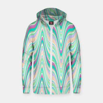 Miniatur Seafoam green blue infinite ikat pattern, magical old style wavy chevron Zip up hoodie, Live Heroes