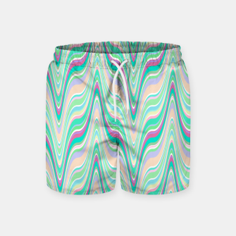 Miniaturka Seafoam green blue infinite ikat pattern, magical old style wavy chevron Swim Shorts, Live Heroes