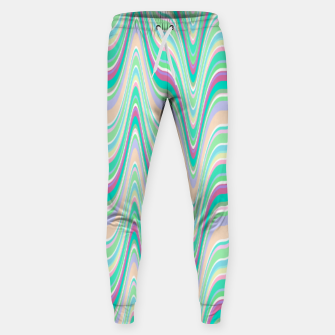 Miniaturka Seafoam green blue infinite ikat pattern, magical old style wavy chevron Sweatpants, Live Heroes