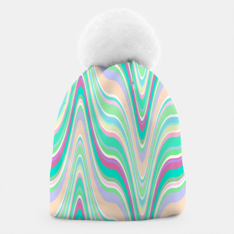 Thumbnail image of Seafoam green blue infinite ikat pattern, magical old style wavy chevron Beanie, Live Heroes