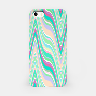 Miniatur Seafoam green blue infinite ikat pattern, magical old style wavy chevron iPhone Case, Live Heroes