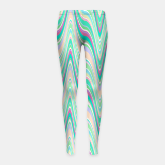 Miniatur Seafoam green blue infinite ikat pattern, magical old style wavy chevron Girl's leggings, Live Heroes