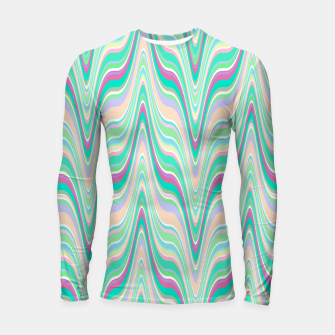 Thumbnail image of Seafoam green blue infinite ikat pattern, magical old style wavy chevron Longsleeve rashguard , Live Heroes