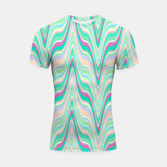 Thumbnail image of Seafoam green blue infinite ikat pattern, magical old style wavy chevron Shortsleeve rashguard, Live Heroes