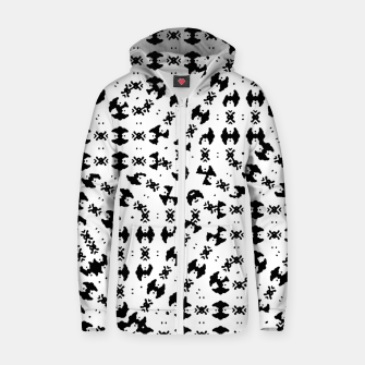 Miniatur Black and White Ethnic Print Zip up hoodie, Live Heroes