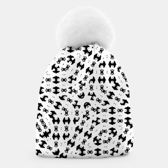 Miniatur Black and White Ethnic Print Beanie, Live Heroes