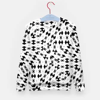 Miniatur Black and White Ethnic Print Kid's sweater, Live Heroes