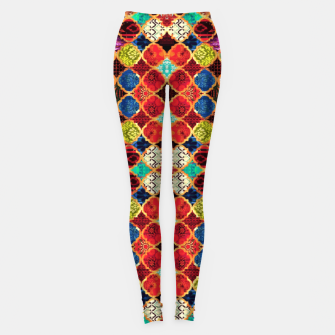 Thumbnail image of HQ Traditional Heritage Islamic Moroccan Tiles Styles Design Leggings, Live Heroes