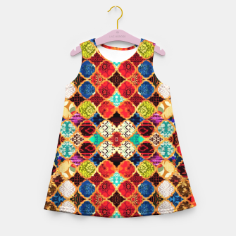Miniatur HQ Traditional Heritage Islamic Moroccan Tiles Styles Design Girl's summer dress, Live Heroes