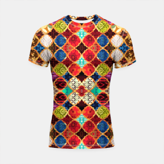 Thumbnail image of HQ Traditional Heritage Islamic Moroccan Tiles Styles Design Shortsleeve rashguard, Live Heroes