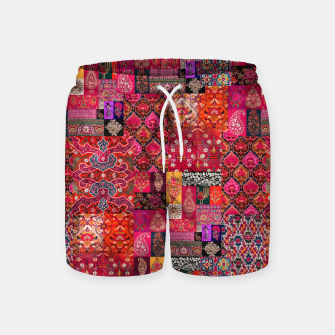 Miniatur Bohemian Vintage Oriental Traditional Moroccan Collage Artwork Swim Shorts, Live Heroes