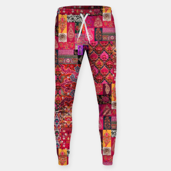 Miniatur Bohemian Vintage Oriental Traditional Moroccan Collage Artwork Sweatpants, Live Heroes
