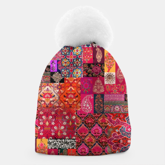Miniatur Bohemian Vintage Oriental Traditional Moroccan Collage Artwork Beanie, Live Heroes