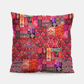 Miniatur Bohemian Vintage Oriental Traditional Moroccan Collage Artwork Pillow, Live Heroes