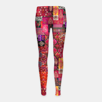 Thumbnail image of Bohemian Vintage Oriental Traditional Moroccan Collage Artwork Girl's leggings, Live Heroes