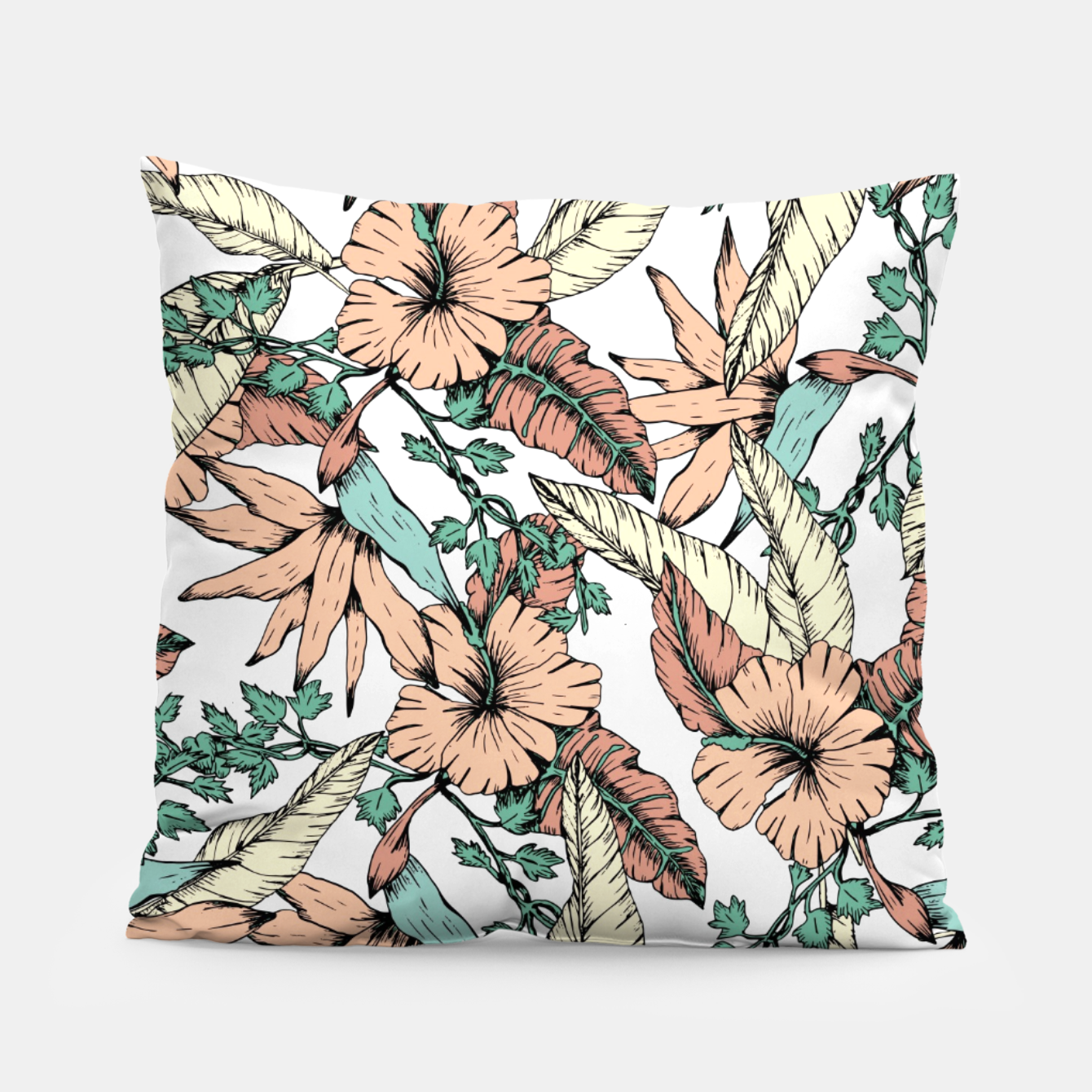 Image of Floral tropic terracotta 01 Almohada - Live Heroes