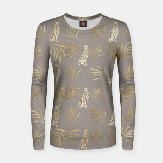 Cheetah Eucalyptus Glam Pattern #8 #tropical #decor #art Frauen sweatshirt obraz miniatury