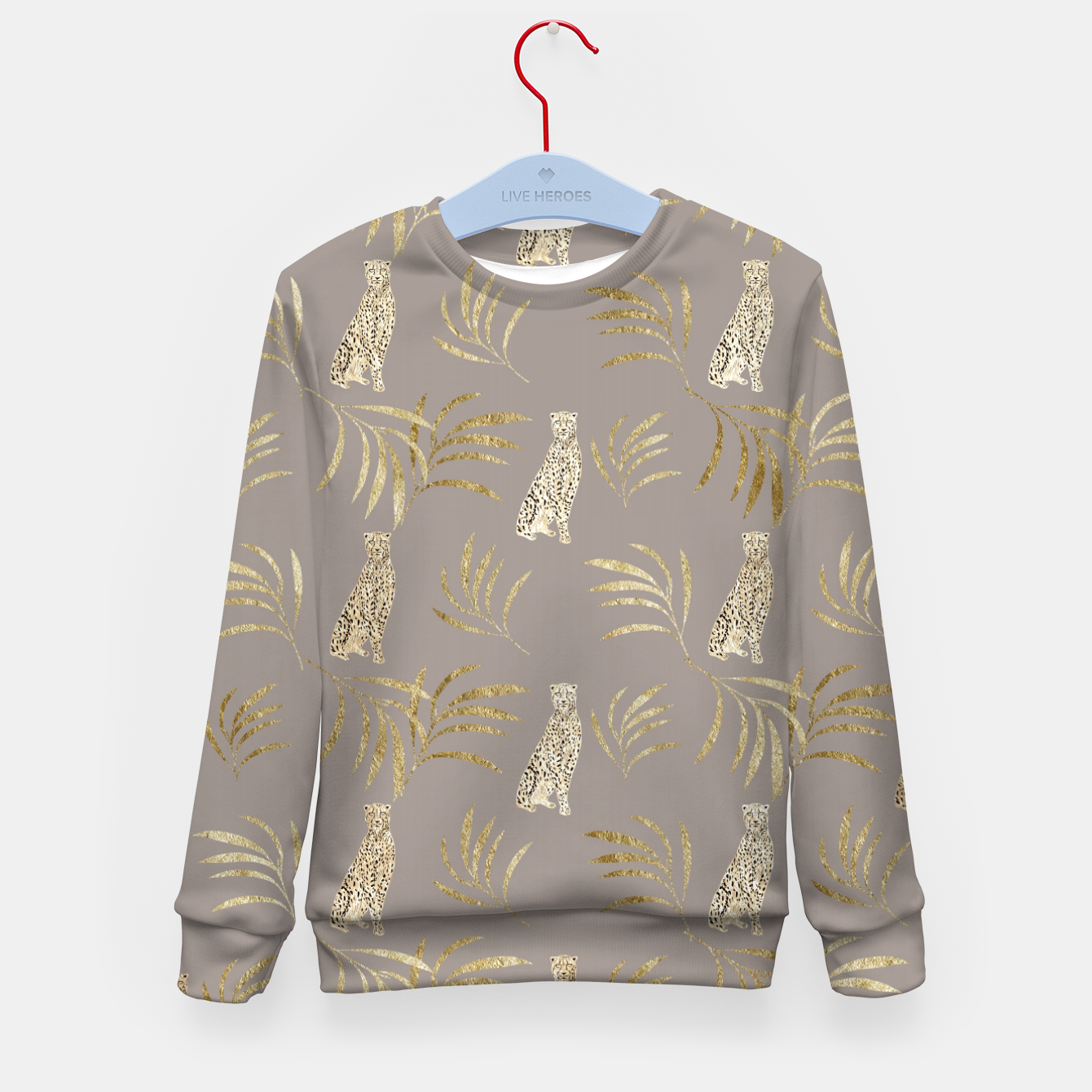 Zdjęcie Cheetah Eucalyptus Glam Pattern #8 #tropical #decor #art Kindersweatshirt - Live Heroes