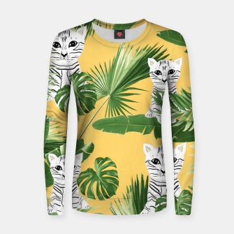 Baby Cat in the Jungle #3 (Kids Collection) #tropical #animal #decor #art  Frauen sweatshirt obraz miniatury
