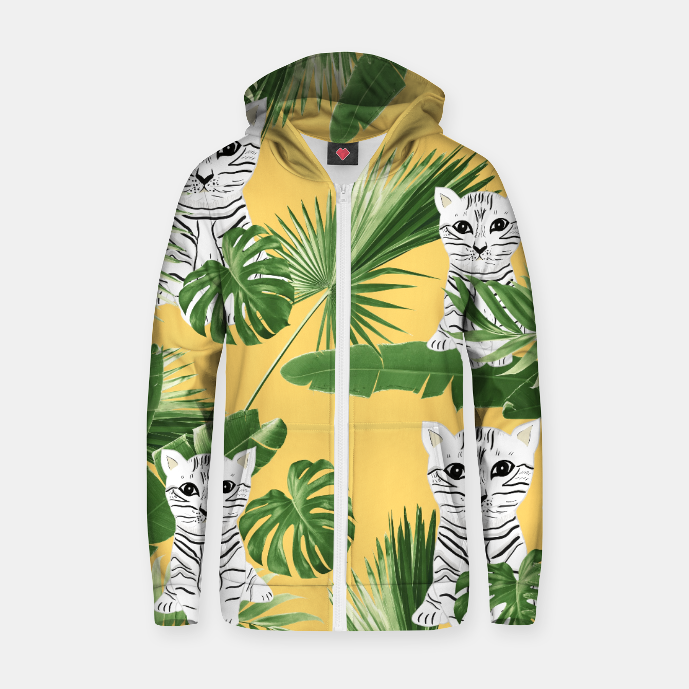 Image of Baby Cat in the Jungle #3 (Kids Collection) #tropical #animal #decor #art  Reißverschluss kapuzenpullover - Live Heroes