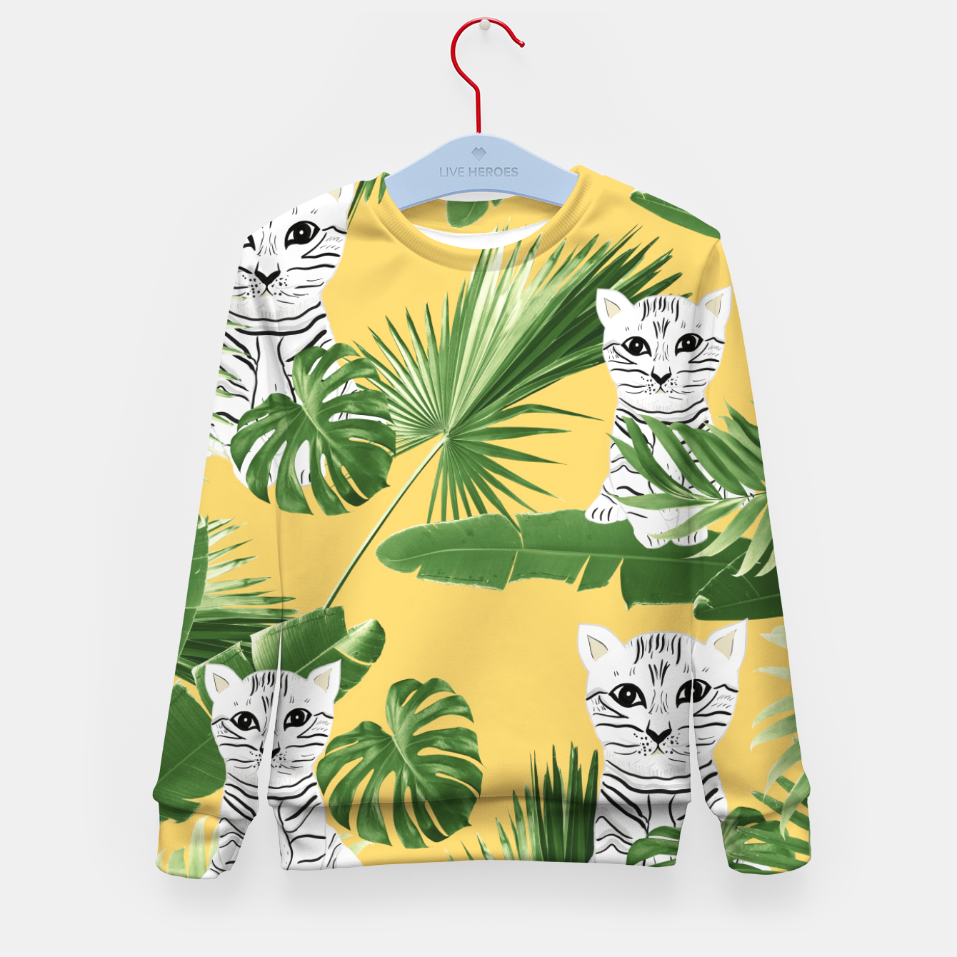 Zdjęcie Baby Cat in the Jungle #3 (Kids Collection) #tropical #animal #decor #art  Kindersweatshirt - Live Heroes