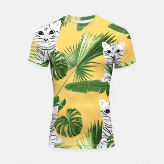 Baby Cat in the Jungle #3 (Kids Collection) #tropical #animal #decor #art  Shortsleeve rashguard obraz miniatury
