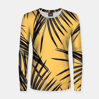 Black Palm Leaves Dream #6 #tropical #decor #art  Frauen sweatshirt obraz miniatury