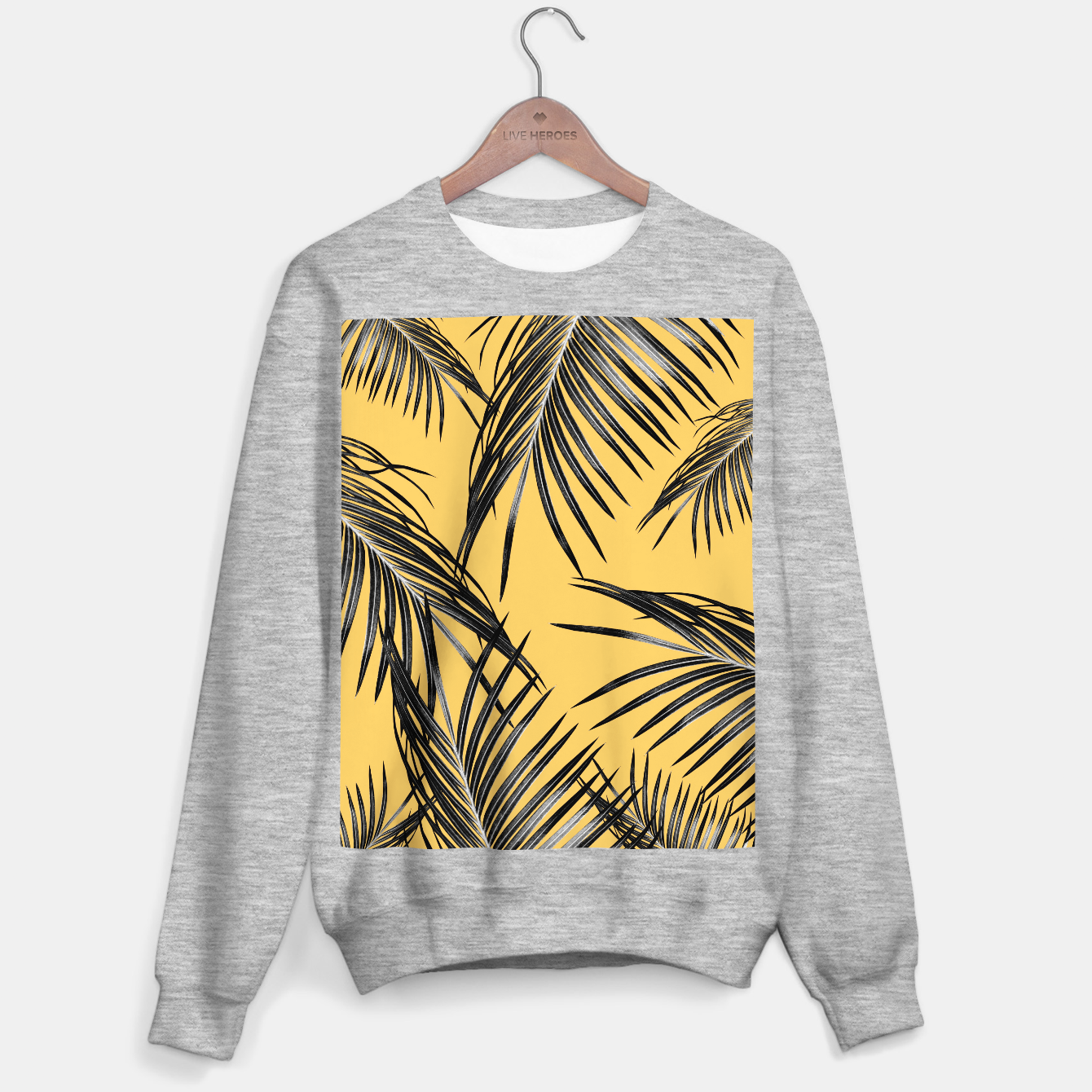 Zdjęcie Black Palm Leaves Dream #6 #tropical #decor #art  Sweatshirt regulär - Live Heroes